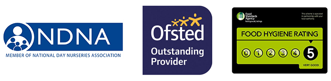 Member of the National Day Nurseries Association - Ofsted Outstanding Provider - 5 Star Hygiene